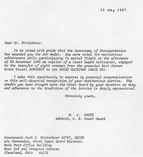 lettter to rittichier re his being awarded the air medal