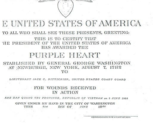 photocopy of rittichier's purple heart jacket